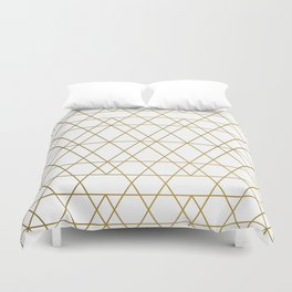 Geometric: White and Gold Duvet Cover