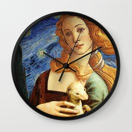 Venus with a Ermine in a Starry Night Wall Clock
