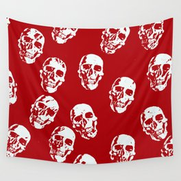 Hot Skulls, red white Wall Tapestry