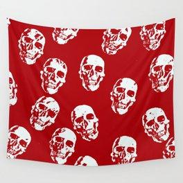 Hot Skulls, red white Wall Tapestry