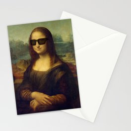 Hipster Mona Lisa in her Hipster Shades Stationery Cards
