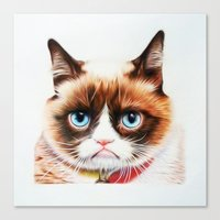 grumpy Canvas Prints featuring grumpy by AngelaArt
