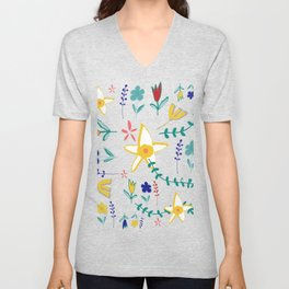 Floral The Tortoise and the Hare is one of Aesop Fables green Unisex V-Neck