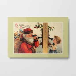 Vintage Santa with child and old telephone Metal Print