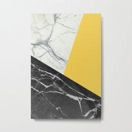 Black and White Marble with Pantone Primrose Yellow Metal Print