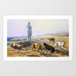 Briton Riviere - Pallas Athena and the herdsman's dogs - Digital Remastered Edition Art Print