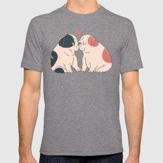 English Bulldog Kisses LARGE Mens Fitted Tee Tri-Grey