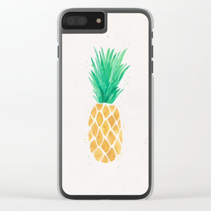 Watercolor Pineapple Clear iPhone Case