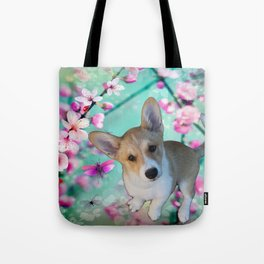 cuty cute corgi puppy of the queen of england Elisabeth, spring blue pink flower power blossom Tote Bag