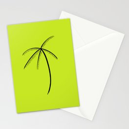 Palm Tree Illustration Neon Green Stationery Cards