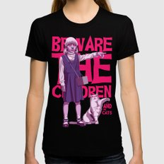 Beware the children...and the cats MEDIUM Womens Fitted Tee Black
