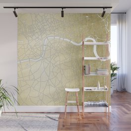 Gold on White London Street Map II Wall Mural