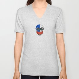 Baby Owl with Glasses and Chilean Flag Unisex V-Neck