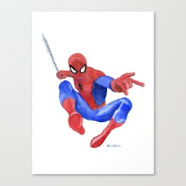 Spider-man Watercolor Painting Canvas Print