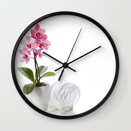 spa composition with beautiful pink orchid over white Wall Clock
