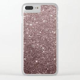 Modern mauve burgundy rose gold glitter Clear iPhone Case