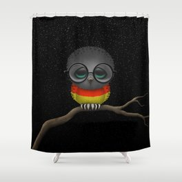 Baby Owl with Glasses and German Flag Shower Curtain
