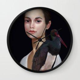 Miss Black Stork Wall Clock