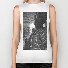 Coast train at sunrise Biker Tank