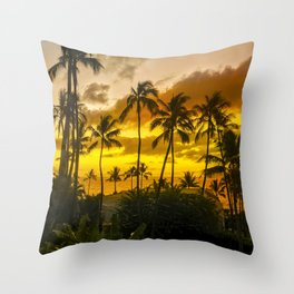 Hawaiian Gold and Tropical Tangerine Sunset Throw Pillow