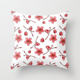 Cherry blossoms//spring flowers/ pink blossom branches/ Throw Pillow