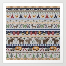 Fair Isle Happy Camper // Winter Wonderland with Woodland Animals Art Print