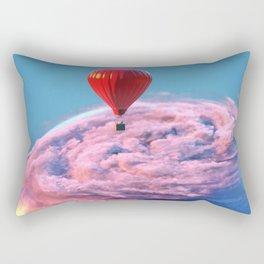 hot air balloon flies above the clouds around the earth Rectangular Pillow