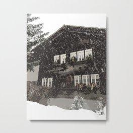 Snowy Swiss Chalet Metal Print