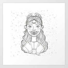 Girl And Buttefly Art Print