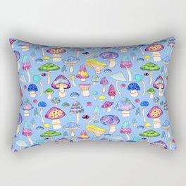 Watercolor Mushroom Pattern on Blue Rectangular Pillow