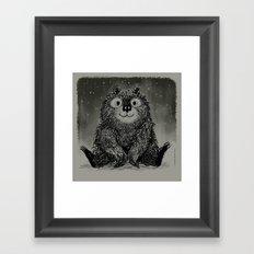 Bear In The Night Snow Framed Art Print