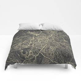 Jerusalem Map yellow Comforters