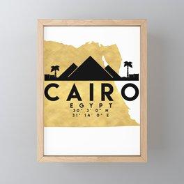 CAIRO EGYPT SILHOUETTE SKYLINE MAP ART Framed Mini Art Print