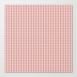 Small Camellia Pink and White Gingham Check Plaid Canvas Print