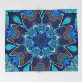 Topaz Soul Mandala Style Design - Fluid Nature Throw Blanket