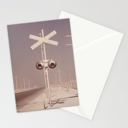 White dust on railroad crossing Stationery Cards