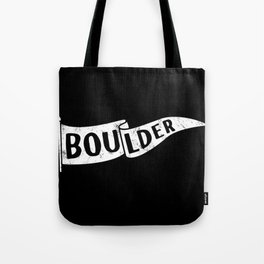 Boulder Colorado Pennant Flag B&W // University College Dorm Room Graphic Design Decor Black & White Tote Bag