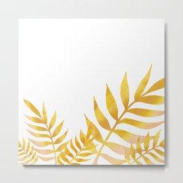 Golden watercolor leaves Metal Print
