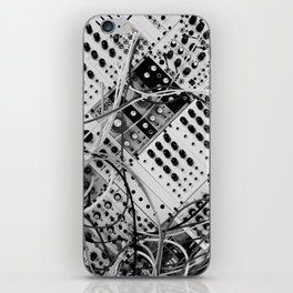 analog synthesizer  - diagonal black and white illustration iPhone Skin