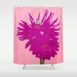 Two dahlia and a Bee Shower Curtain
