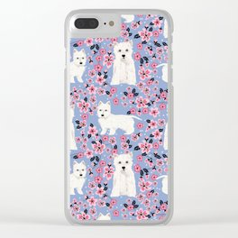 Westie cherry blossoms west highland terrier cutest fluffy white dog breed pattern art Clear iPhone Case