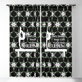 Gymnastics Live Your Dream Design- Black Tile with White Stars Blackout Curtain
