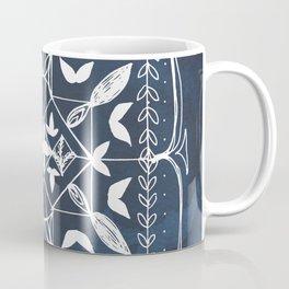 Navy Blue Art, Mandala Spirituality Meditation Focus Art, Butterfly Watercolor Line Art Coffee Mug