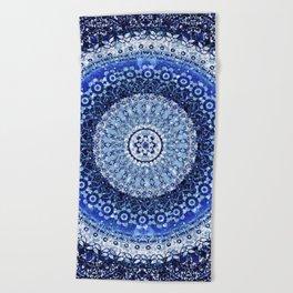 Cobalt Tapestry Mandala Beach Towel