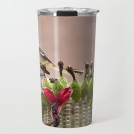 Watercolor Bird Mockingbird on Fruiting Saguaro Cactus 01, Ventana Canyon, Arizona Travel Mug