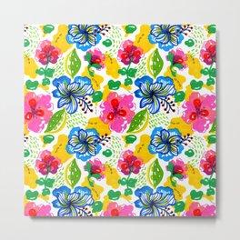 Hand Drawn Summer Floral Metal Print