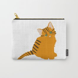pattern with cute cartoon doodle cats on yellow background. Little colorful kittens. Funny animals. Children's illustration. Vector image. Carry-All Pouch