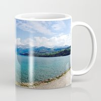 switzerland Mugs featuring Switzerland by Rachel Bernz