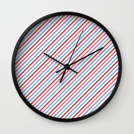Lilac aqua pink red geometric trendy stripes Wall Clock