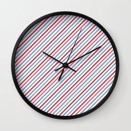 Lilac aqua pink red geometric trendy stripes Wall Clock